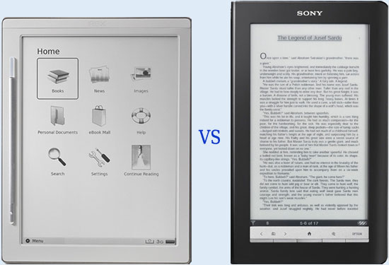 Kindle Vs Sony Reader: IRex DR-800 Vs Sony PRS-900