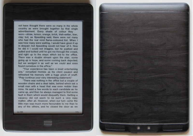 Kindle Touch with Black Woodgrain Skin