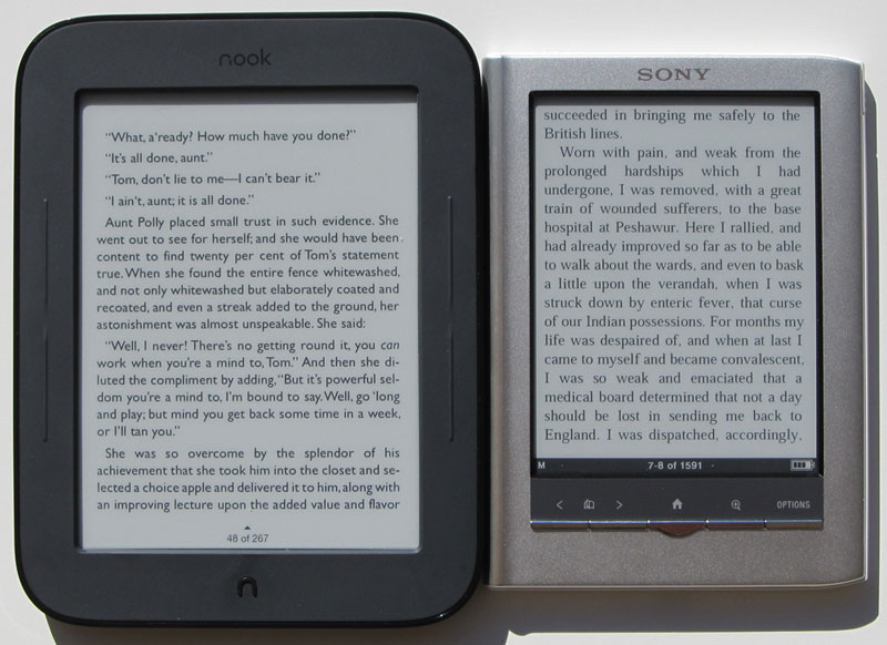 new nook vs sony reader comparison review touch screen ereaders