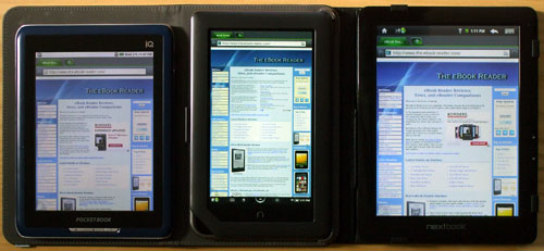 Next3 vs Nook Color vs PocketBook IQ