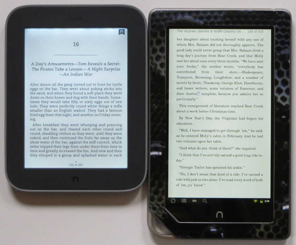 Nook Touch with GlowLight vs Nook Tablet