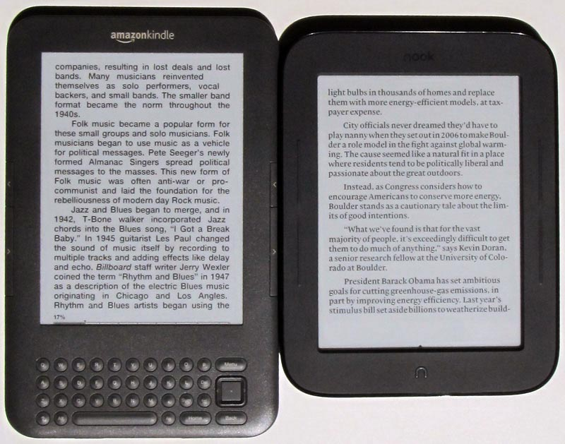 Nook Touch Kindle 3