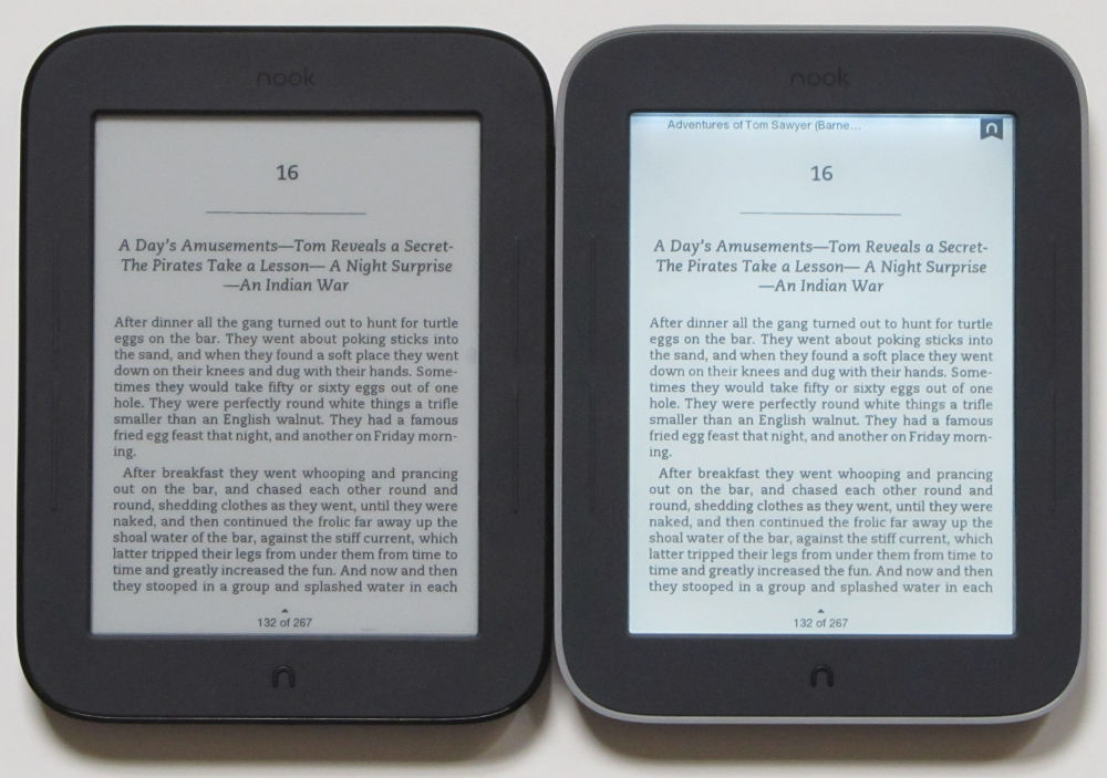 Nook Touch with GlowLight vs Nook Touch