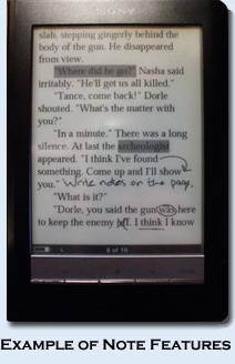 Sony Reader Note Feature