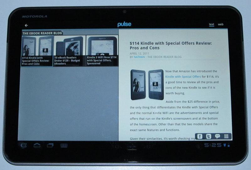 Motorola Xoom WiFi Review - The Xoom as an eReader